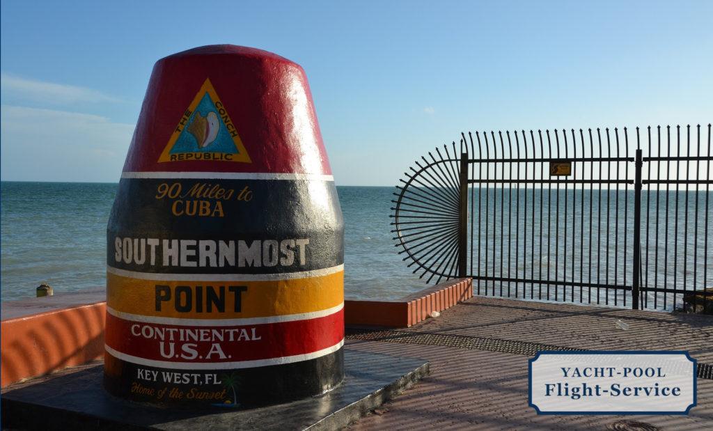 Key West. Der südlichste Punk der USA. Flüge zur Segelyacht nach Key West und Florida. Sonne, Inseln, Strände, Meer, Riffe.