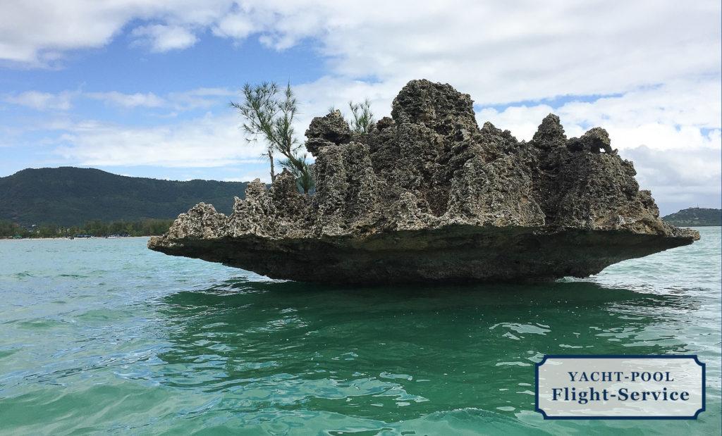 Mauritius Segeltörn, Insel, Meer, Bucht, kleines Inselschen, türkis blaues Wasser, Indischer Ozean