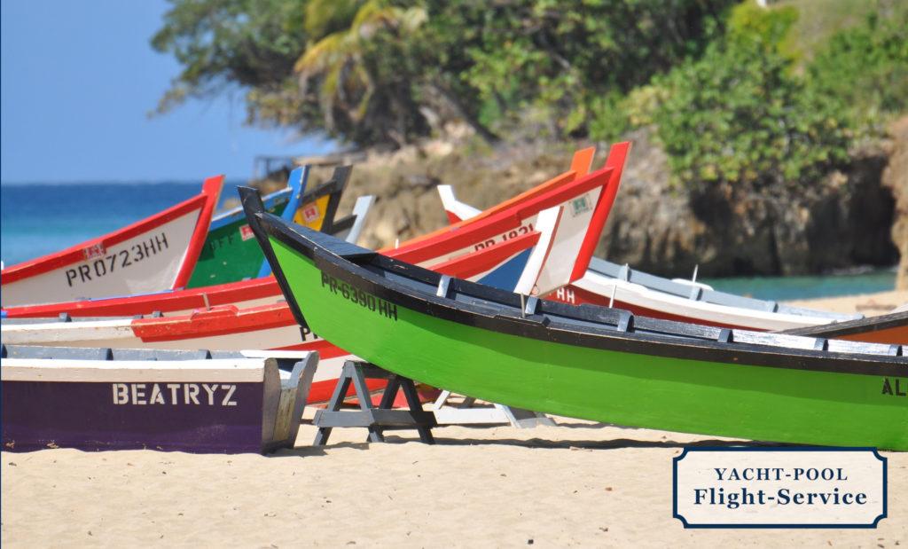 Boote, Fischerboote, Strand, Palmen, Puerto Rico, Karibik, Sonne, Meer, segeln, Segeltörn, Flüge zur Segelyacht