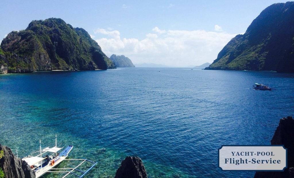 Philippinen, Inseln, Bucht, türkisfarbenes Wasser, Boote, Vegetation, sonniges Wetter, Leicht gebirgig