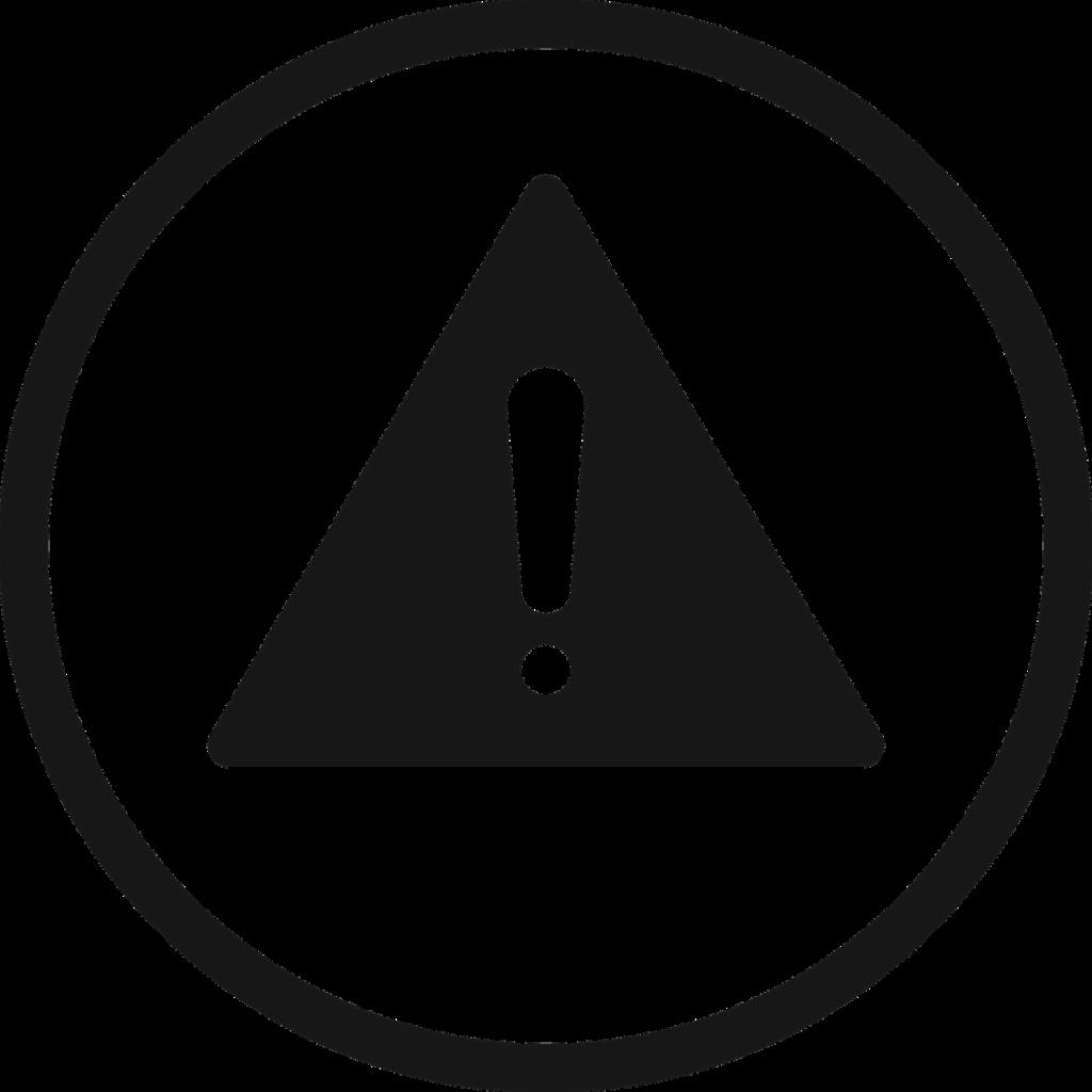 Achtung Schild in schwarz weiß mit Ausrufezeichen.